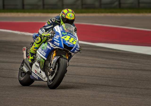 """Valentino Rossi, Movistar Yamaha"" by Dave Wilson is licensed under CC BY NC-ND 2.0"