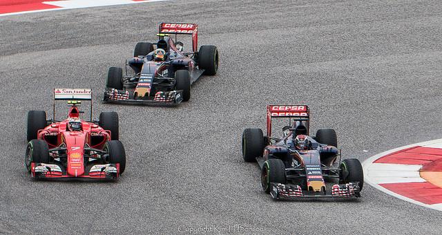 Toro Rossos and a Ferrari